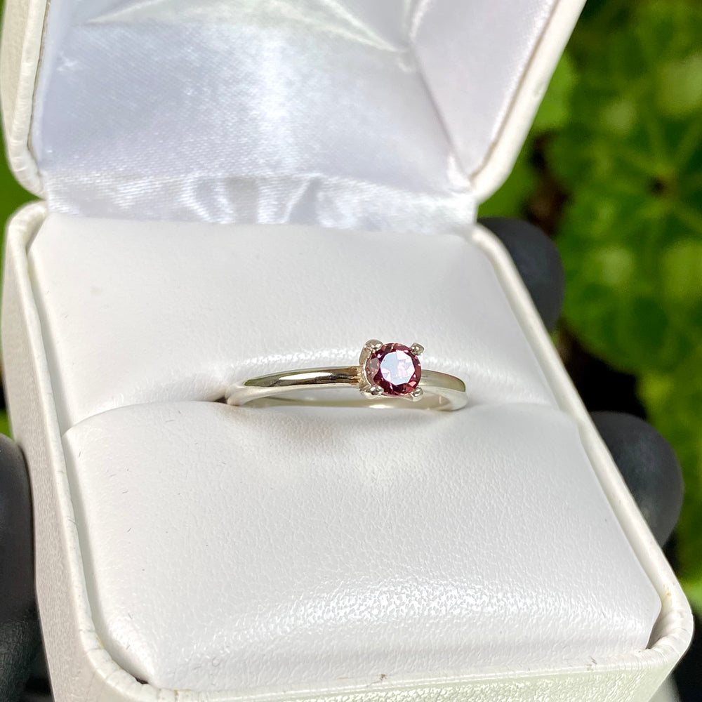 Load image into Gallery viewer, Faceted Pink Tourmaline var. Rubellite Set in Sterling Silver Ring Size 7 - Handmade in Maine by Northern Maine Minerals