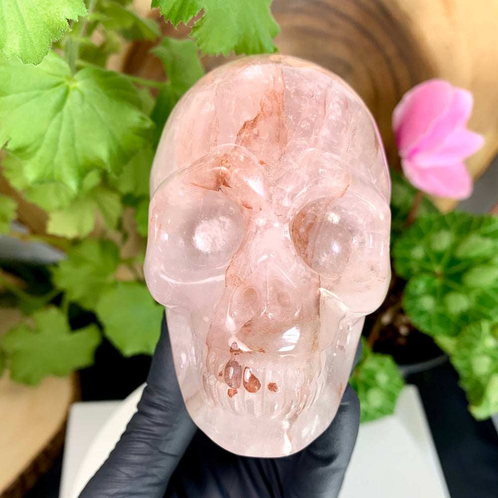 "Load image into Gallery viewer, Fire Quartz Crystal Skull Carving 4"" Polished Display Piece (Hematoid Quartz)"