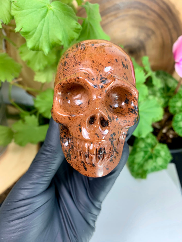 "Load image into Gallery viewer, Mahogany Obsidian Crystal Skull Carving 3.5"" Polished Display Piece"