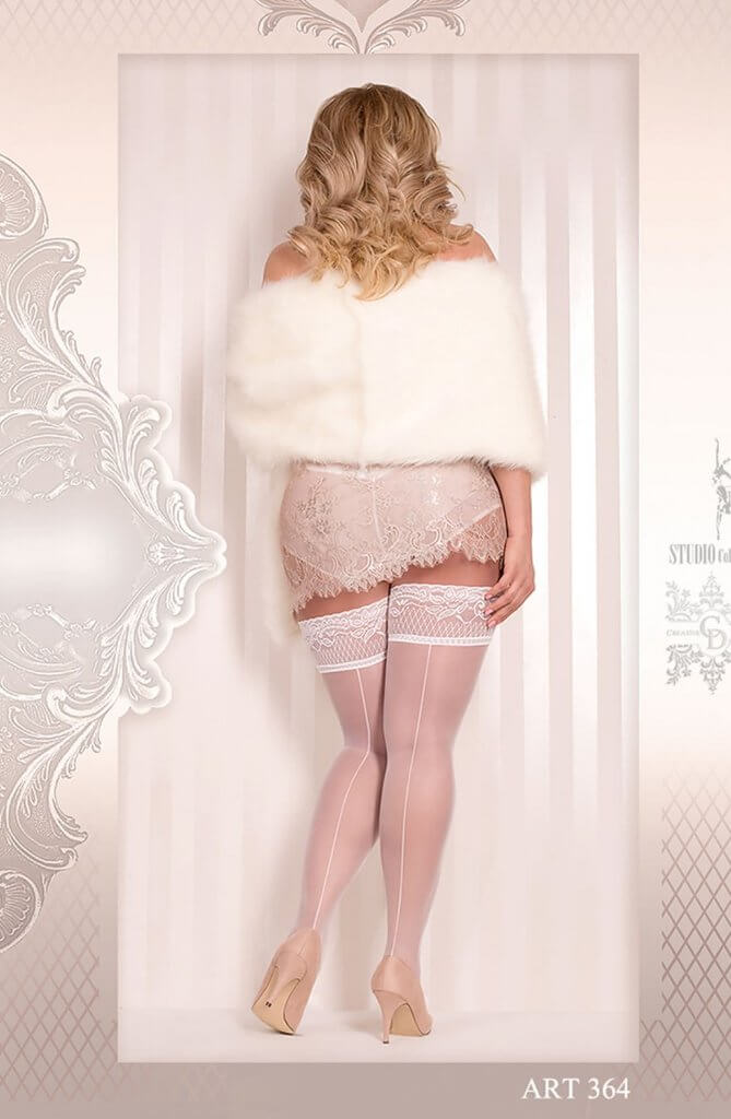 Ballerina Plus Size Lace Trim White Hold Ups