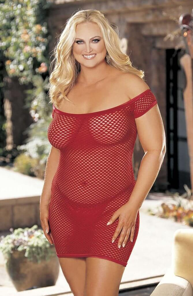 Shirley of Hollywood Plus Size Fishnet Chemise