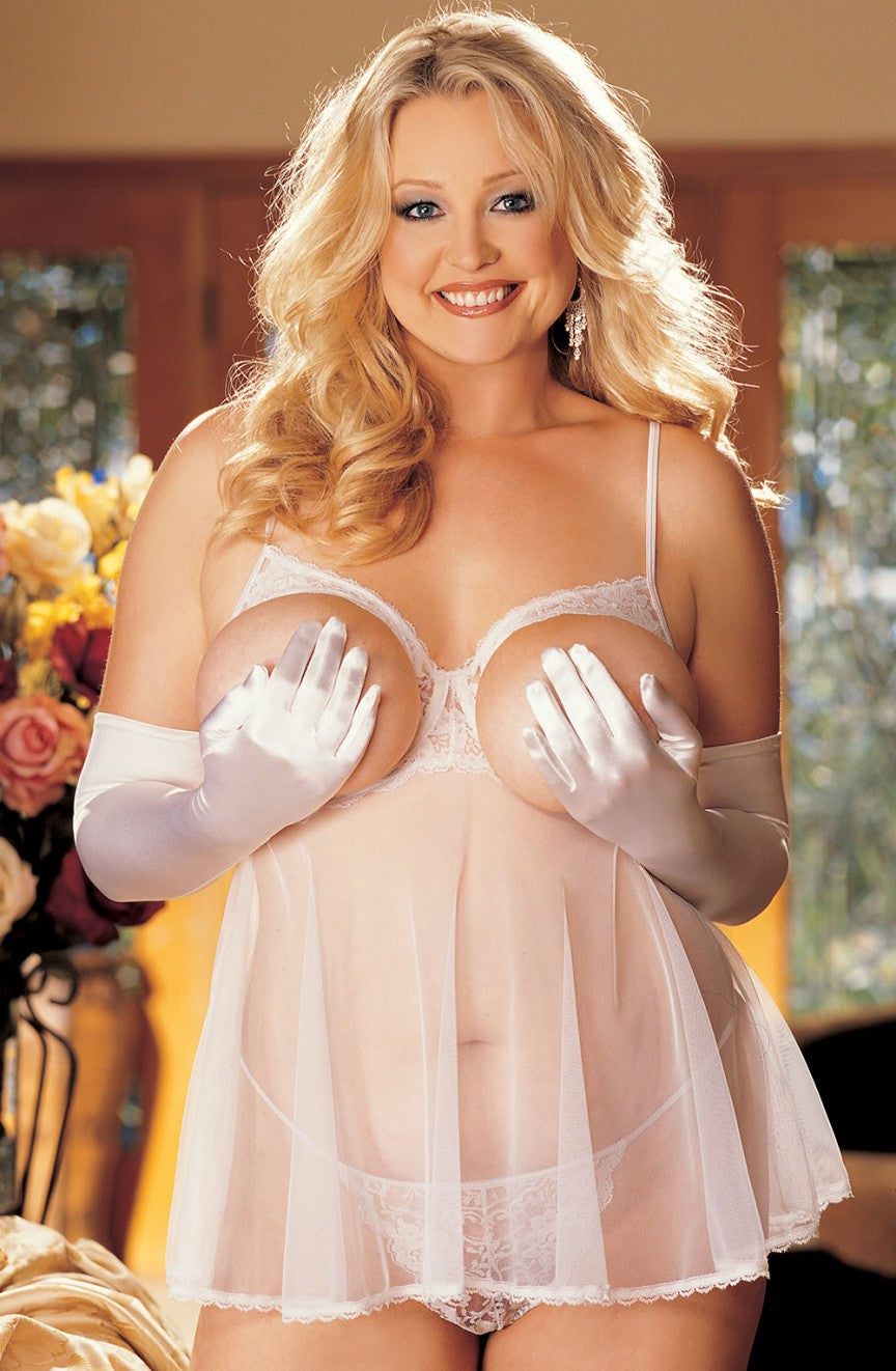 Plus Size Sheer Net Babydoll