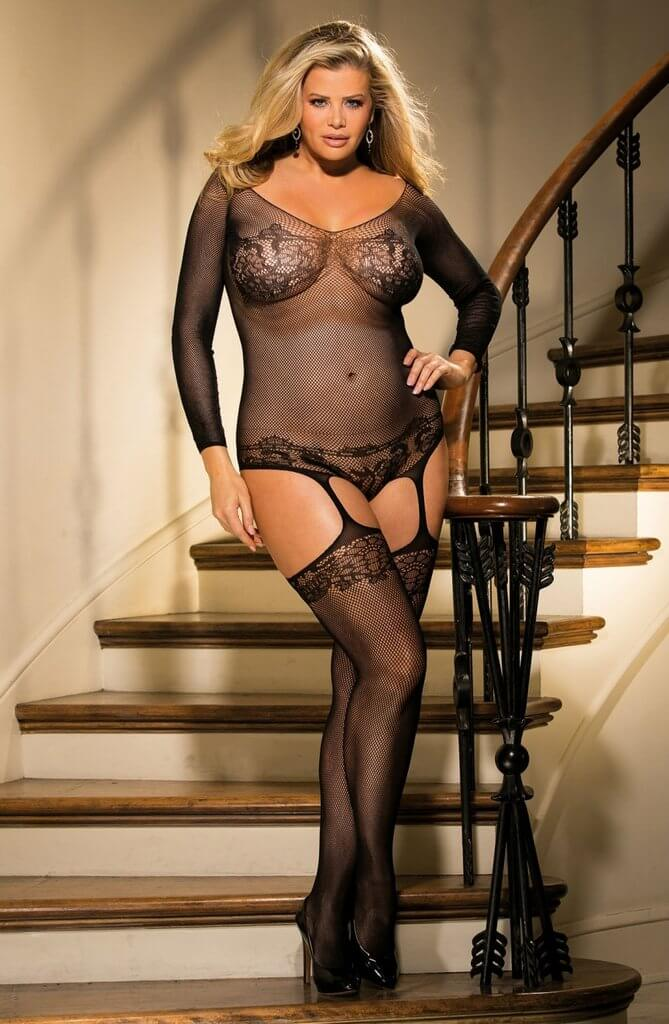 Shirley of Hollywood Plus Size Bustier Style Bodystocking