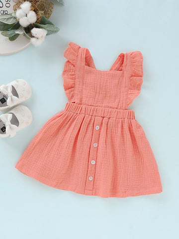 Baby Button Front Ruffle Solid Pinafore Dress