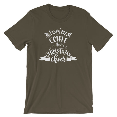 I Run on Coffee and Christmas Cheer Short-Sleeve Unisex T-Shirt