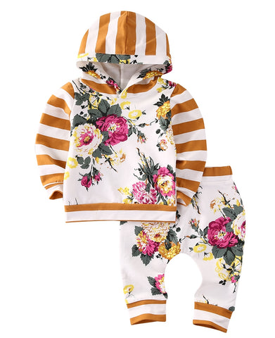 Mustard Floral Long Sleeve Hooded Sweatshirt & Pants