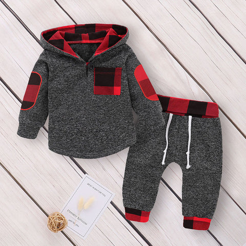 Plaid Hooded Sweatshirt & Sweatpants