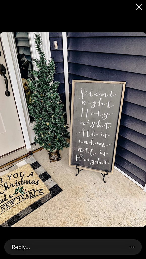 Silent night Holy night framed wall hanging black/white/graywash