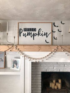 Wall decor Hello Pumpkin framed quote sign