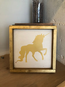 READY TO SHIP unicorn 8x8 white/yellow/gold