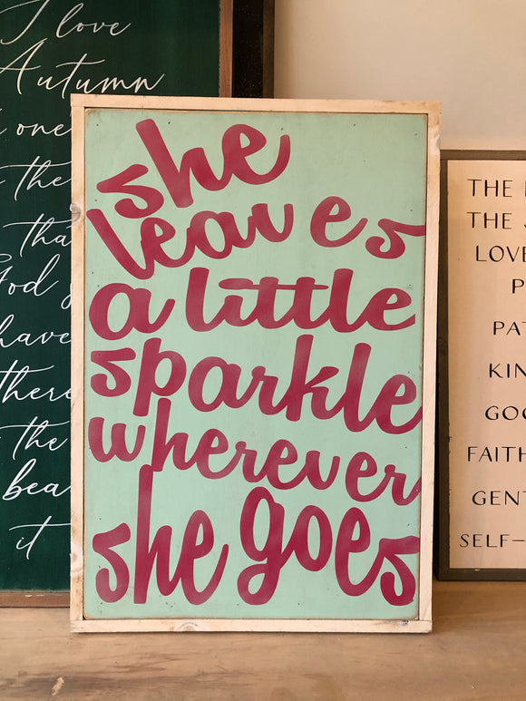 READY TO SHIP she leaves a little sparkle wherever 18x24 mint/pink/white