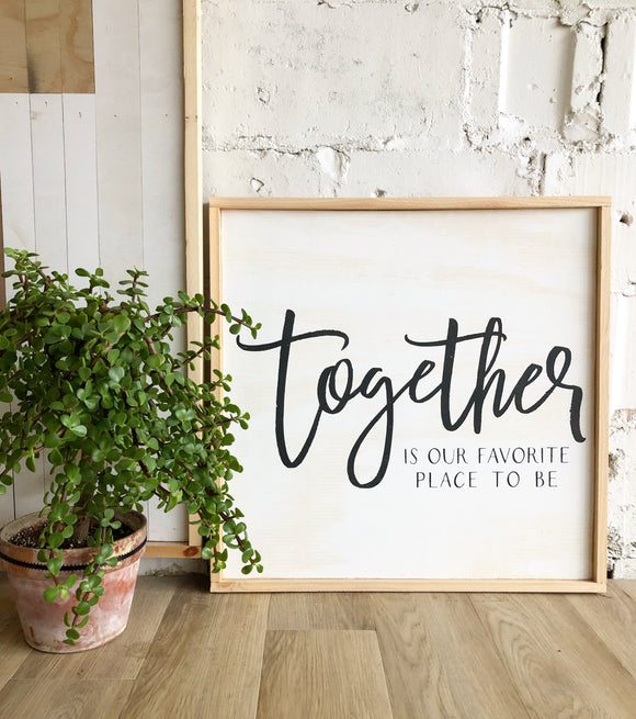 Together is my fav framed wood art white/black/natural