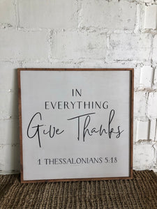 In everything give thanks framed wood art white/black/darkoil