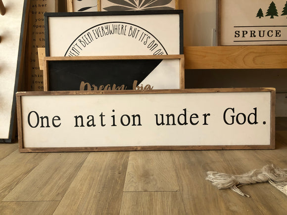 READY TO SHIP One nation under God 9x36 White/black/dark oil