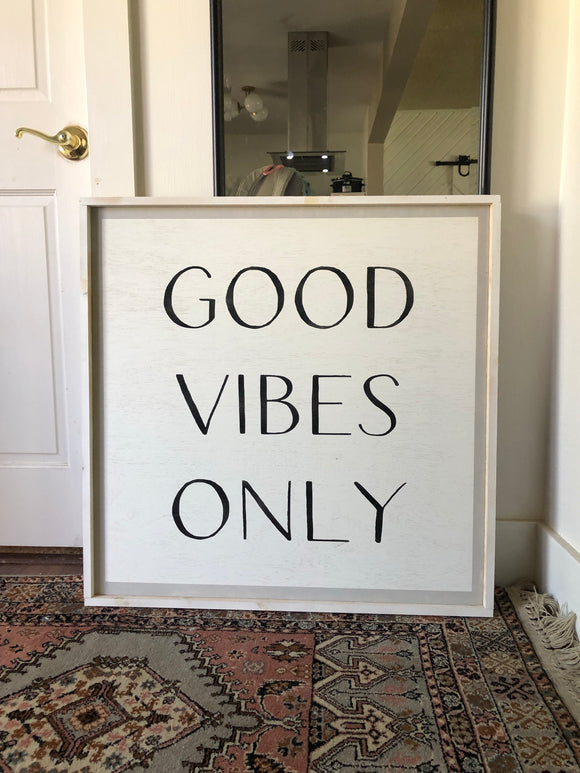 Good vibes only framed wood art white/black/white