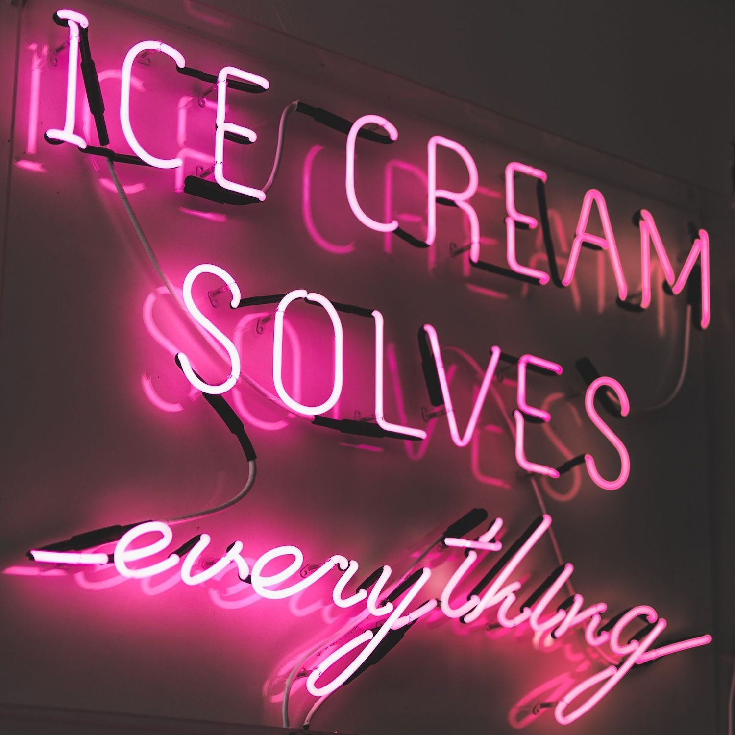 Ice cream solves everything neon sign