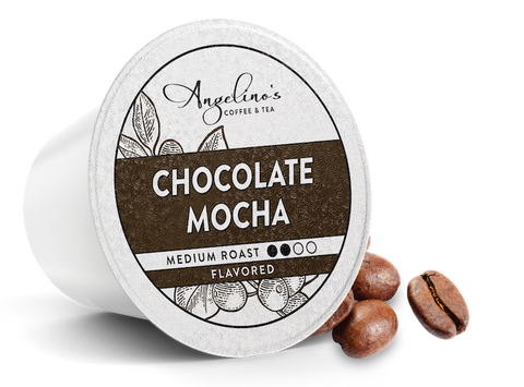 Angelino's Chocolate Mocha cup with beans