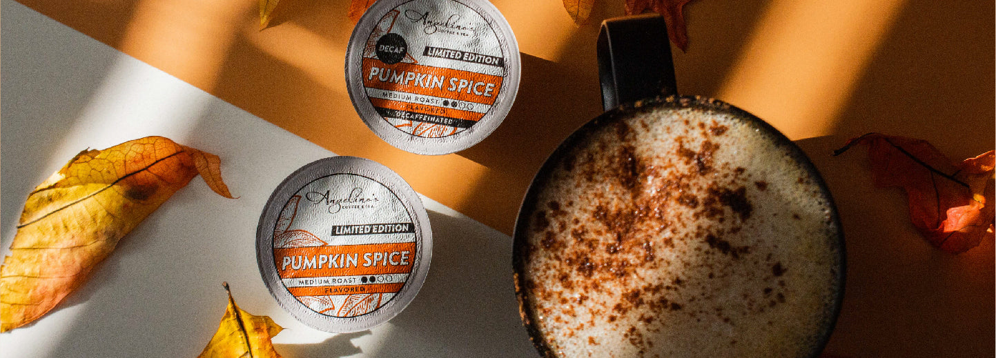 Angelino's Pumpkin Spice in regular and decaf