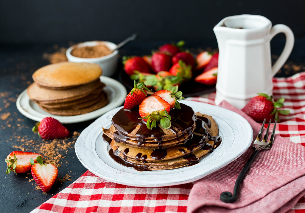 Cappuccino Pancakes with Mocha Syrup and strawberries