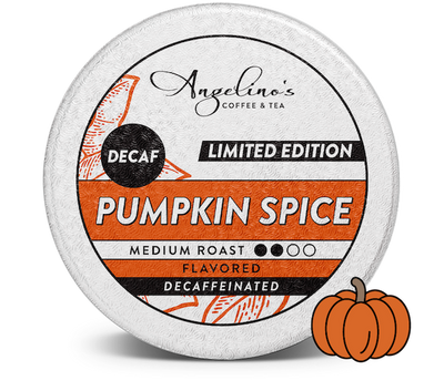 Angelino's Decaf Pumpkin Spice flavored coffee