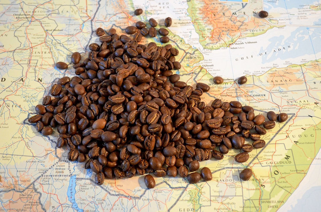 coffee beans on ethiopian map