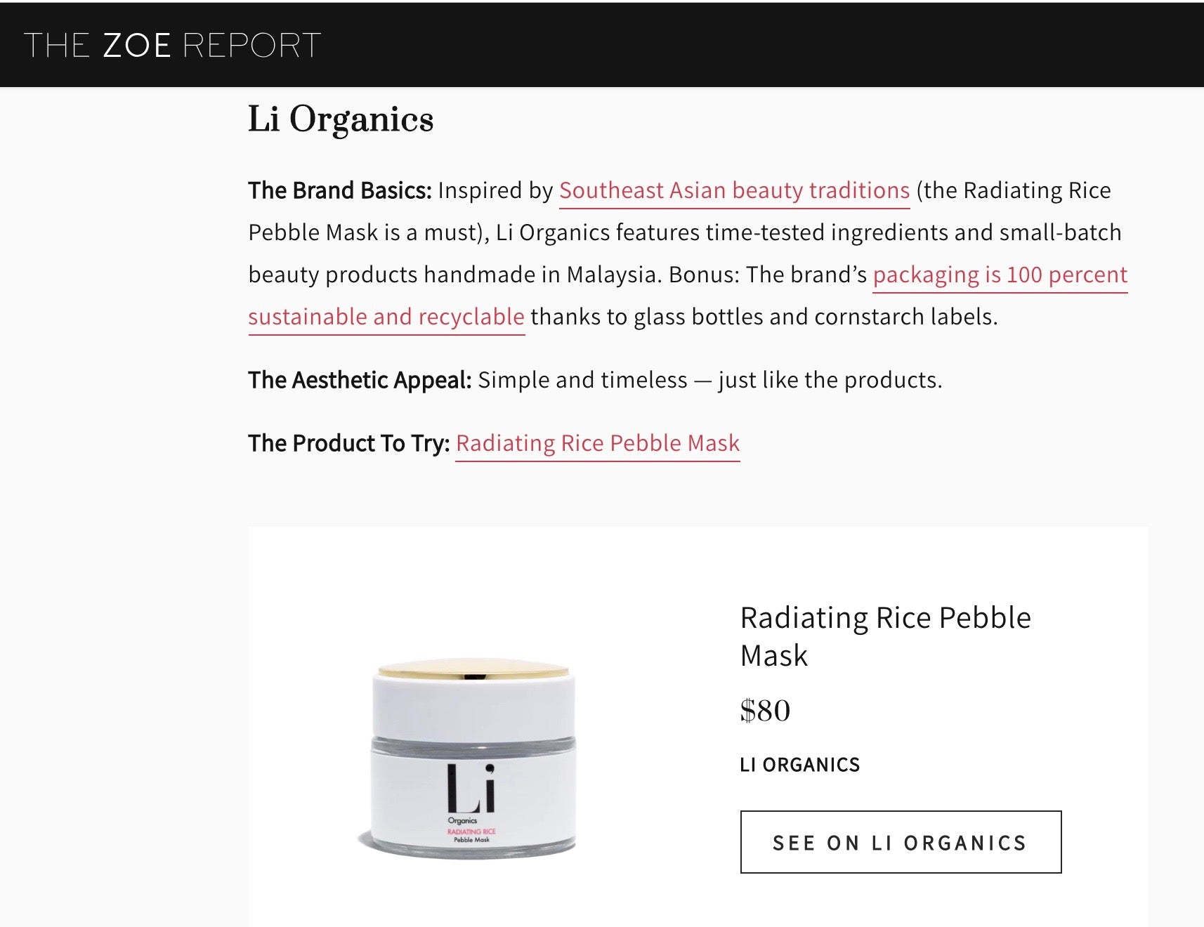 Li Organics on The Zoe Report, 2019's Brands to Look Out For