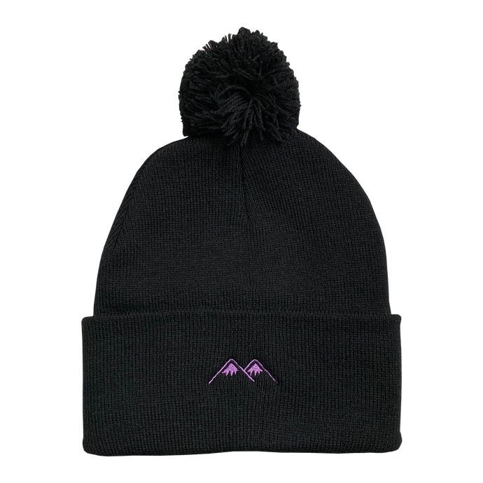 mountains pom beanie - black