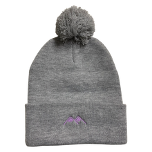 Load image into Gallery viewer, mountains pom beanie - heather grey