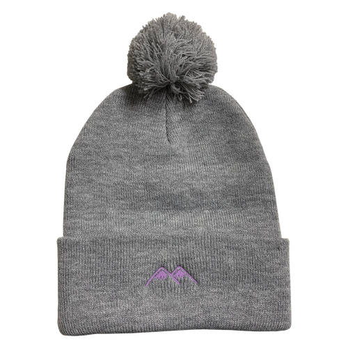 mountains pom beanie - heather grey