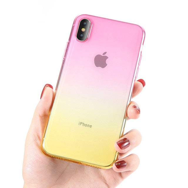 Gradient Color Transparent Ultra Thin Soft Silicone Case for iPhone