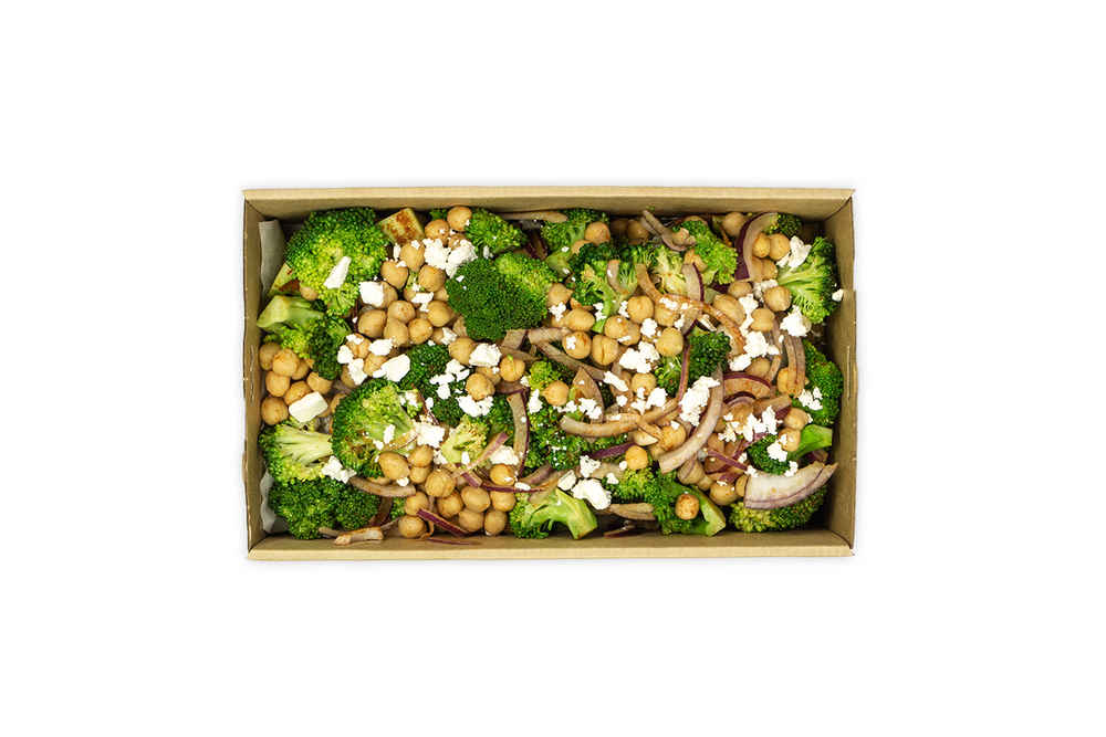 Steamed Broccoli & Roasted Chickpea Salad - A Gourmet Plate