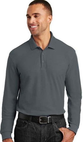 Custom Embroidered Polo - Port Authority Long Sleeve Core Classic Pique Polo