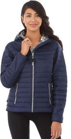 Custom Embroidered Insulated Jacket Elevate Ladies Silverton Packable Insulated Jacket Vintage Navy
