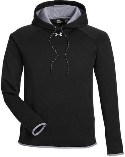 Under Armour Ladies Double Threat Armour Fleece Hoodie-XS-Black/Steel-Thread Logic
