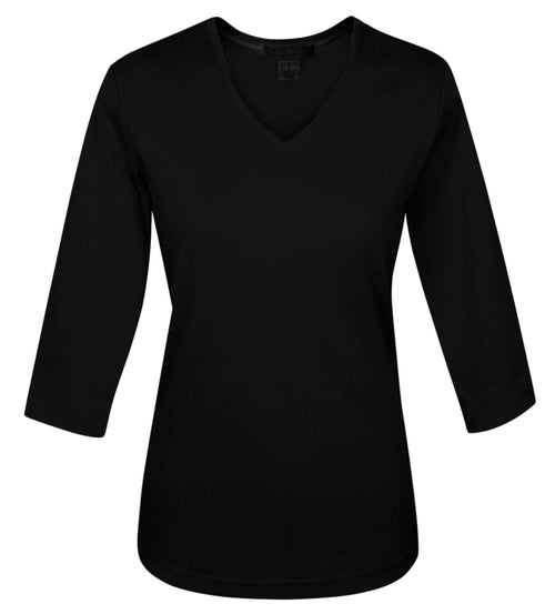 Tri Mountain-Ladies 3/4 Sleeve V-Neck T-Shirt-XS-Black-Thread Logic