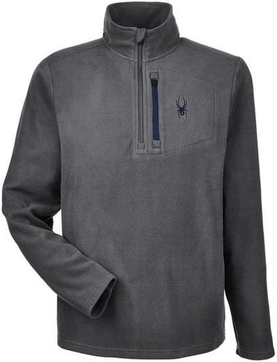 Spyder Transport Quarter-Zip Fleece Pullover-S-Polar/Frontier-Thread Logic logo-right