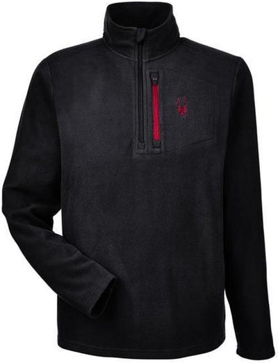 Spyder Transport Quarter-Zip Fleece Pullover-S-Black/Red-Thread Logic logo-right