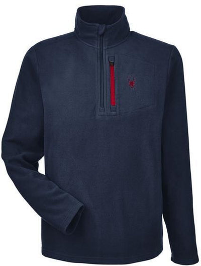 Spyder Transport Quarter-Zip Fleece Pullover-S-Frontier/Red-Thread Logic logo-right