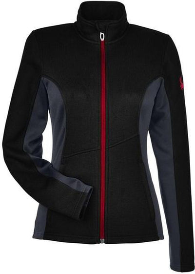Spyder Ladies Constant Full-Zip Sweater Fleece-XS-Black/Polar/Red-Thread Logic