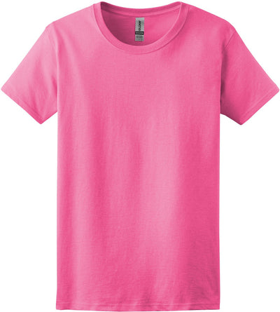 Gildan-Ladies 100% Cotton T-Shirt-XS-Safety Pink-Thread Logic