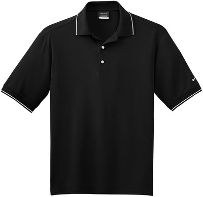 Black NIKE Golf Dri-Fit Classic Tipped Polo