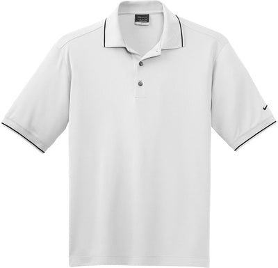 White NIKE Golf Dri-Fit Classic Tipped Polo