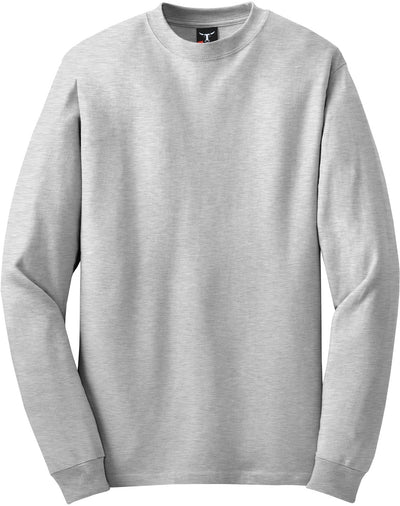 Hanes-Beefy Long Sleeve Cotton T-Shirt-S-Ash-Thread Logic