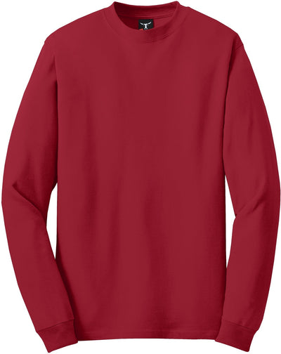 Hanes-Beefy Long Sleeve Cotton T-Shirt-S-Red-Thread Logic