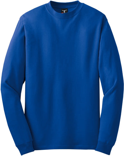 Hanes-Beefy Long Sleeve Cotton T-Shirt-S-Royal-Thread Logic