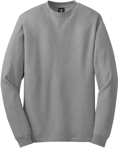 Hanes-Beefy Long Sleeve Cotton T-Shirt-S-Light Steel-Thread Logic