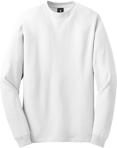 Hanes-Beefy Long Sleeve Cotton T-Shirt-S-White-Thread Logic