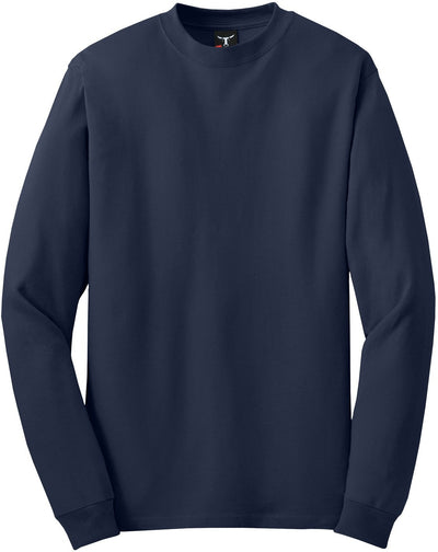Hanes-Beefy Long Sleeve Cotton T-Shirt-S-Navy-Thread Logic