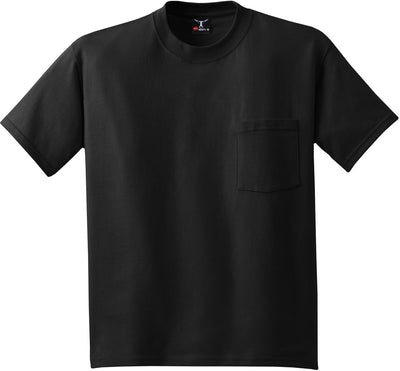 Hanes-Beefy T-Shirt with Pocket-S-Black-Thread Logic