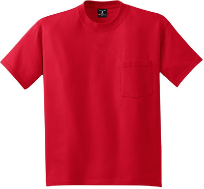 Hanes-Beefy T-Shirt with Pocket-S-Deep Red-Thread Logic